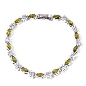 Simulated Green & White Diamond Tennis Bracelet